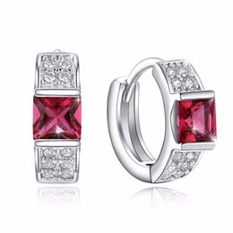 $enCountryForm.capitalKeyWord Canada - Rhinestone Round Creole Hoop Earrings Red CZ Zircon Prong Setting Crystal Aretes Silver Color Boucle d'oreille Jewelry