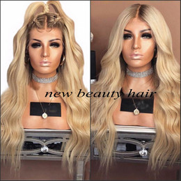 brown blue ombre lace front wig UK - 9A high quality brown roots Ombre Blonde deep body Wavy Heat Resistant Fiber Synthetic Lace Front Wig with preplucked hairline For Women