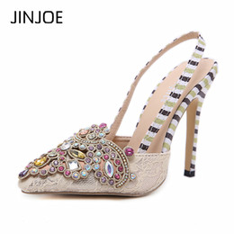 62ed17e6925 JINJOE Woman High Heels Lace Shoes Slingback Pointed Toe Crystal Rhinestone  Pumps Stilettos party Bridal Sandals Women Slipper