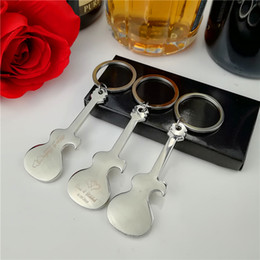 keychain guitar opener NZ - Personalized Bottle Opener Keychain Unique Wedding Favor Guitar Shaped Metal Key Chain Wedding Souvenir Gift for Guest 20-Pack