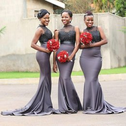 5f1b9faf965 Nigeria Gray Mermaid Bridesmaid Dresses High Neck Sleeveless Lace And Satin  Maid Of Honor Gowns For Wedding Long Bridesmaid Dress