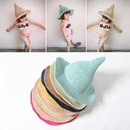 Fallen Hats Australia - fashion Children boy girl spring summer fall cute lovely Novelty steepled hat hand-woven papyrus Solid Witch's steeple Fitted