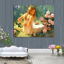 hand painted portraits NZ - 100% Hand-paint portrait oil painting on canvas girl and flower decorative wall pictures home decoration gift