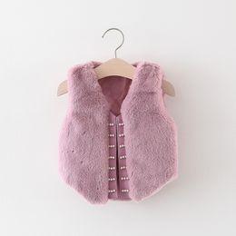 Girls Cardigans Pearls NZ - Fashion Autumn Winter Children Baby Girls Faux Fur Kids Pearl Beaded Jacket Vest Coat Waistcoat Cardigan Outwear Casaco S7487