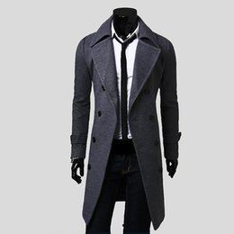 $enCountryForm.capitalKeyWord UK - 2018 Fall Men's Trench Coat , High Quality Jacket Father's Day Gift , Fashion Men's Slim Double-breasted Long Wool Coat Gray