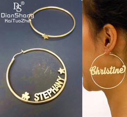 Mix Match earrings online shopping - 1Pairs Custom Name Mix Match Hoop Earrings Fashion Stainless Steel MM Diameter Boho Custom Name Plate Earrings Modern Brincos