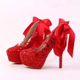 moda aguja de cinta novia de arco Zapatos rojo de mujer de con encaje hechos de tacón de vestido a bombas de Zapatos de tacón de brillo de y de mano novia RwaqSxg
