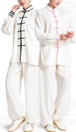 Ivory Linen Suit Canada - unisex Summer&spring linen fax wudang tai chi suits uniforms shaolin kung fu suit wushu kungfu clothing