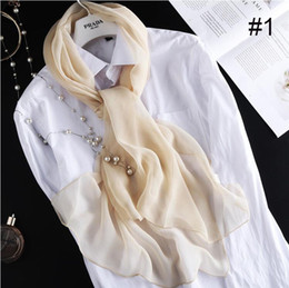 women nice scarves 2021 - Nice silky women scarf anti-UV ladies girl soft pure color warp silk georgette shawl 14 color