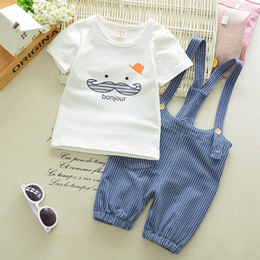 $enCountryForm.capitalKeyWord Australia - Casual Cute Beard T Shirt+Stripe Straps Shorts Children Kids Suits 2018 Summer Baby Girls Boys Clothes Suits Infant Cotton Suits