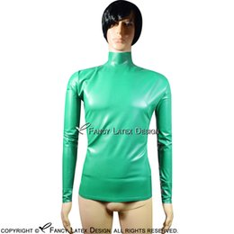 $enCountryForm.capitalKeyWord Canada - Jade Green Sexy Latex Shirt With Zipper At Top of Back Long Sleeves High Neck Rubber Clothes Top YF-0089