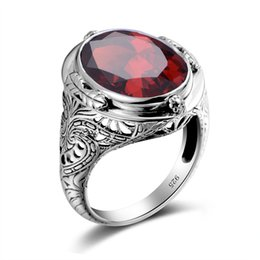 China 925 Sterling Silver Ring Vintage Carved Flower Created Ruby CZ Aquamarine Precious Stone Men Cocktail Finger Ring Fine Jewelry Y1892705 cheap precious stones jewelry sets suppliers