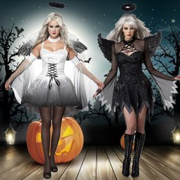 2018 Halloween Costumes For Women Fantasy Cosplay Party Fancy Dress Adult  White Black Fallen Angel Costume With Angel Wings 4f7a8f70cbf7