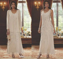 $enCountryForm.capitalKeyWord NZ - Elegant Champagne Mother Of The Bride Dresses With Jacket Sequins Beaded Long Sleeve Ankle Length Plus Size Mothers Wedding Guest Dress