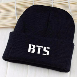 paragraph cotton UK - BTS 2017 kpop hats wool cap Bangtan children with paragraph Korean Beanies Harajuku couple BTS k-pop cover caps Skullies