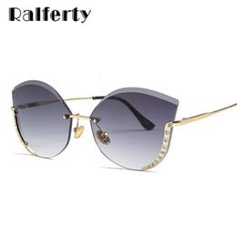 Atacado senhoras de luxo cat eye sunglasses mulheres sem aro de cristal  óculos de sol uv400 cinza gradiente eyewear lunette gozluk c22073 53a0d49b66