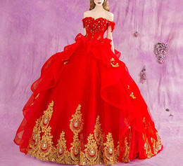 Wholesale 2019 New Red Ball Gown Quinceanera Dresses With Gold Appliques Off Shoulder Sweep Train D Flower Ruffles Prom Party Gowns For Sweet