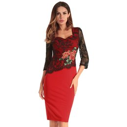 $enCountryForm.capitalKeyWord UK - Embroidery Dress Lace Flower Red Pencil Work Dresses Three Quarter Sleeve Square Collar Special Occasion Formal Women Clothes