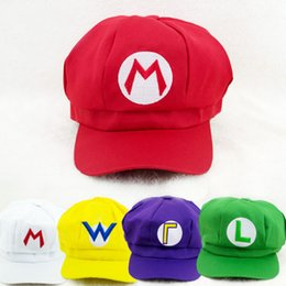 Discount super mario hat wholesale - Super Mario Bros Cosplay hats Mario Luigi Wario Waluigi baseball Hat Super mario baseball hat 5 colors fast shipping
