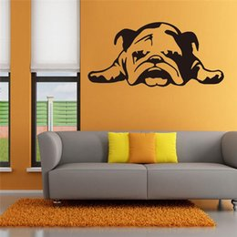 Wallpapers Walls Cartoons Australia - Wallpaper ENGLISH BULLDOG TIRED PUPPY DOG Cartoon Wall Stickers for living room Kids Room bedroom home decoration