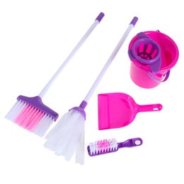$enCountryForm.capitalKeyWord Australia - Baby Kids Housekeeping Cleaning Play Set Pink Broom Mop Bucket Dustpan Cleaning Brush Sweep Pretend Role Play Education Toys Kit