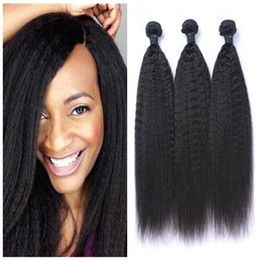 Cheap Kinky Natural Hair Extensions Australia - 8A Cheap Unprocessed Peruvian Kinky Straight Wave Hair Weft Human Hair Peruvian Hair Extensions On Sale