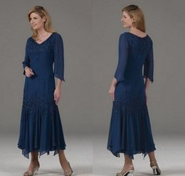 fd4b4e661e6 Tea Length Wedding Guest Dresses Sleeves Australia - Navy Blue Long Sleeves  Mother Of The Bride