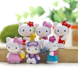 6pcs Set Hello Kitty Home Decoration Mini Toys Kids Birthdays Gifts Handicrafts Miniatures Colorful Action Figures Collection Model
