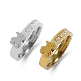 Chinese  TL Zircon Bear Hight Quality Gold Silver Stainless Steel Ring Jewelry Little Animal Shaped Ring For Wedding Decoration Ring Hot Sale manufacturers