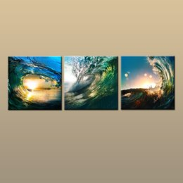 $enCountryForm.capitalKeyWord NZ - Framed Unframed Hot Modern Contemporary Canvas Wall Art Print Sunset Wave oil painting Seascape Picture 3 piece Living Room Home Decor ab398