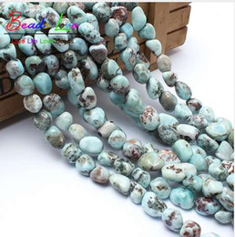 $enCountryForm.capitalKeyWord Canada - 8-10mm Natural Shaped Stone Genuine Larimar Beads For Jewelry Making 15inches Irregular Natural Stone Beads Free Shipping