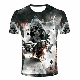 4f099eee4b11b Terror Poker Skull Newest Fashion Men Women Tops 3D Printing T-Shirt Unisxe  Funny Short Sleeved Tees 3D T-shirt N352