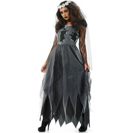 Sexy Party Clothes For Women Australia - Vampire Zombie Halloween Costumes for Women Party Performance Black Witch Sexy Dress Scary Ghost Veil+Dress Set Clothing