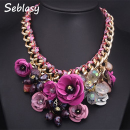 gold braided chain necklace 2019 - Seblasy Collier Chunky Gold Color Chain Handmade Braided Crystal Flowers Necklaces & Pendants Statement Necklaces For Wo