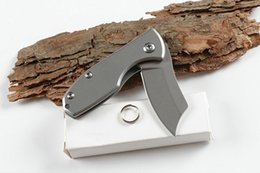 Hunting knifes wHolesale cHina online shopping - 440C HRC Blade Folding Pocket Knife Steel Handle China Little Cutting Tool Utility EDC Outdoor Hiking Gear Knives Christmas Gift P524F