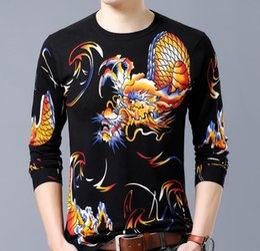 2f5b46c303c Long Sleeve Tattoo T Shirts NZ - Spring Autumn Fashion Brand Men s Casual  Slim Dragon Print