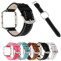 fitbit cases 2019 - 23mm Genuine Leather Wrist Strap for Fitbit Blaze Band Cowhide Watchbands Bracelet with Silver Metal Frame Case Protecti