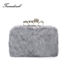 shoes matching clutch bag NZ - Trenadorab Elegant Hard Box Clutch Fur Gray Diamond Ring Evening Bags For Matching Shoes And Women Wedding Prom Eveing Party