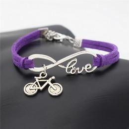$enCountryForm.capitalKeyWord NZ - AFSHOR European Popular Women Punk Silver Infinity Love Cute Bike Cycling Bicycle Charms Leather Bracelet for Women Men Summer Gift Jewelry
