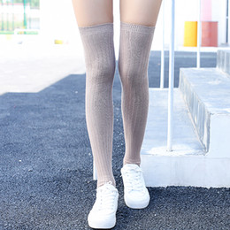 af650f210 Sexy Thigh Stockings Women Over Knee Slim Socks Thick Cotton Keep Warm  Stocking Teenage Girls Autumn Athleisure wear 2 pairs lot