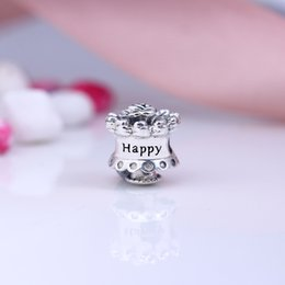 207729482 Real 925 Sterling Silver Happy Birthday Charm Fit Original Bracelet Bangle  For Women DIY Jewelry Fast Shipping