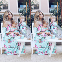 matching mother daughter clothing wholesale Canada - Fashion Mother And Daughter Casual Bohemian Formal Maxi Dress Mommy Daughter Matching Outfits Fashion Baby Clothing