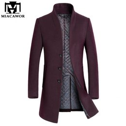6bccddc672ef Miacawor New Winter Warm Wool & Blends Men Long Trench Coat Men Overcoat  Brand Clothing Jacket Mens Cashmere Coat MJ379