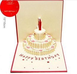 Birthday Cake 3D Pop UP Gift Greeting Blessing Cards Handmade Paper Silhoue Creative Happy Christmas Y133 NZ179