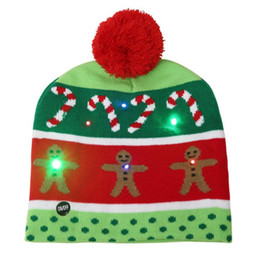 $enCountryForm.capitalKeyWord UK - LED Christmas knitted Hat Scarf kid Santa Claus Snowman Reindeer Elk Festivals lighted up Hats Xmas Party Gifts Cap