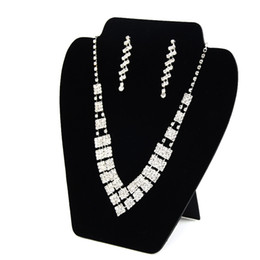 Chinese  Big Necklace Earring Set Display Card Stand Black Velvet Elegant Space Saving Light Jewelry Displays for Shop Shelf Boutique Stall Booth manufacturers