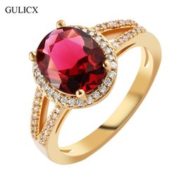 $enCountryForm.capitalKeyWord Australia - ashion rings for women GULICX Fashion Hollow Halo Finger Band Gold-color Ring for Women Oval Garnet Red Crystal red CZ Engagement Jewelry...