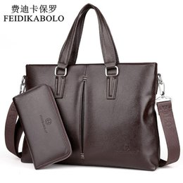 Leather brown briefcase online shopping - FEIDIKABOLO New Leather Men Bags Men Crossbody Handbags Large Capacity Business Briefcase Male Shoulder Bag Top Combination