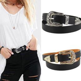 Gold Silver Leather Belt NZ - 2018 Fashion Women Hup Black Leather Belts Western Cowgirl Waist Belt Waistband Single Metal Double&Single Buckle Silver&Gold