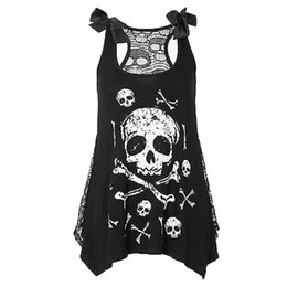 $enCountryForm.capitalKeyWord Canada - New crop top Women Fashion Skull Print Loose Lace Patchwork Casual Sleeveless summer Tops Hot Girl Vest Cropped Tops hot sale #5